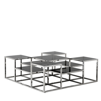 Multi-level Stainless Steel and Smoke Glass Coffee Table