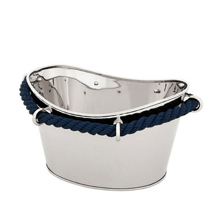 Oval Polished Nickel Wine Cooler with Blue Rope