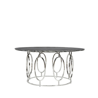 nickel plated table with black marble top