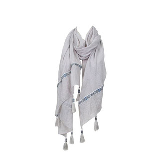 Light Grey Ribbon Tassel Scarf