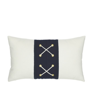 Navy Laced Lumbar Accent Pillow