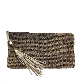 Chocolate Crochet Raffia Clutch