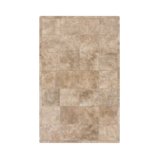 HAND STITCHED TAUPE LEATHER RUG