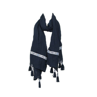 Navy Ribbon Tassel Scarf