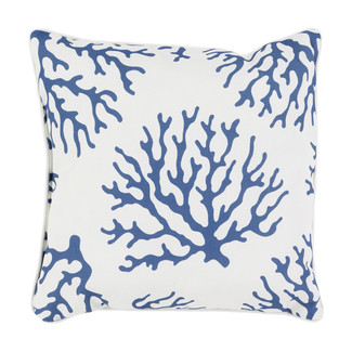 Navy Coral Accent Pillow