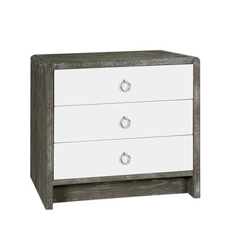 3 Drawer Cerused Side Table