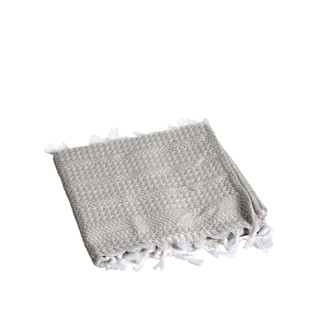 Off White Cotton Pied de Coq Bath Rug