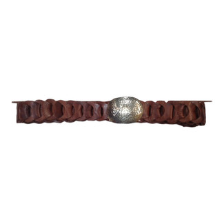 Brown Leather Belt with Hammered Metal Buckle