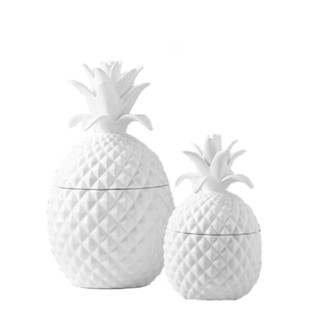 Ceramic Pineapple Jars with Lid - Set of 2