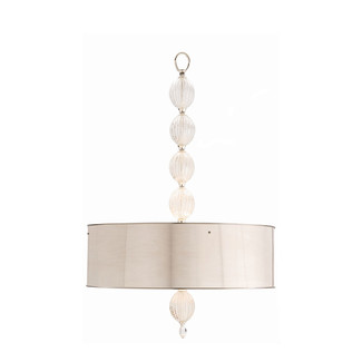 3-light Pendant with Drum Shaped Polished Nickel Shade