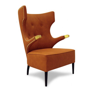 Smooth Sienna Leather and Brass Armchair