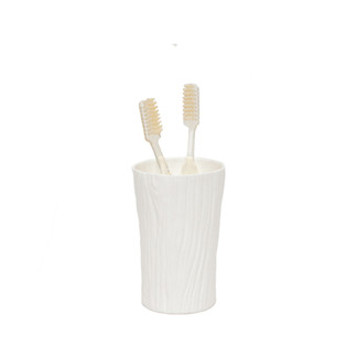 White Wood Grain Porcelain Toothbrush Holder