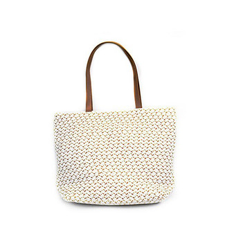 White Woven Tote Handbag Natural Handle