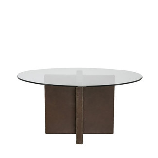 Crisscross Leather Base Table