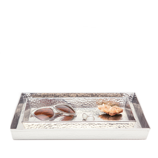 Hammered Metal Tray Set