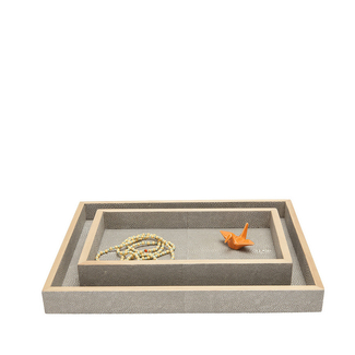 Faux Shagreen Tray Set- Sand