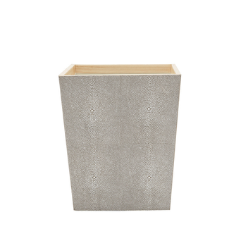 Faux Shagreen Square Wastebasket- Sand