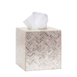 Pearlized Herringbone Capiz Tissue Box