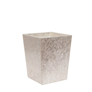 Pearlized Herringbone Capiz Square Waste Basket