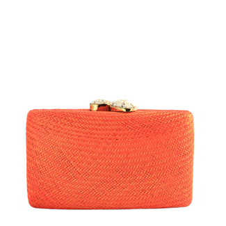 Orange Straw Clutch