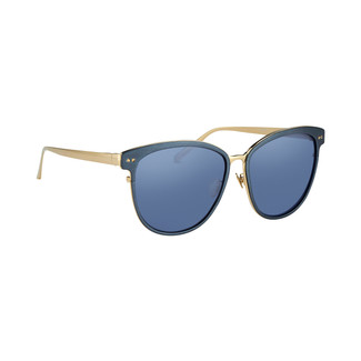 Linda Farrow 547 C4 Oversized Sunglasses In Blue And Light Gold