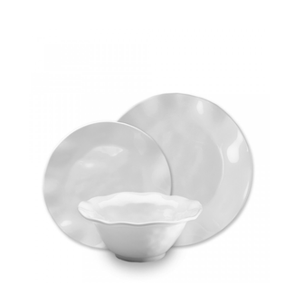 Ruffle Round 12PC Melamine Dinnerware Set- White