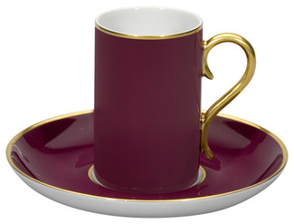 Rocco Bordeaux and Gold Coffee Cup & Saucer