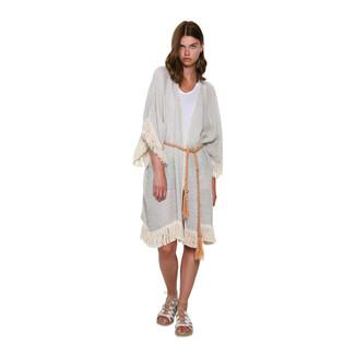 Beige Fringed Kimono