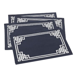 Stitched Greek Key Design Placemats- Set of 4