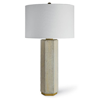 Concrete and Brass Gear Table Lamp