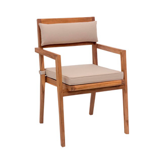 Nautical Dining Arm Chair with Beige Cushions
