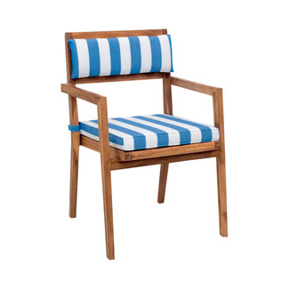 Nautical Dining Arm Chair with Striped Cushions