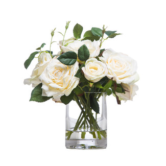 White Roses in Small Cylinder Glass Vase