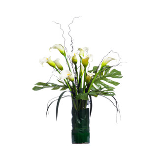 Callas & Tropical Foliage in Cylinder Glass Vase