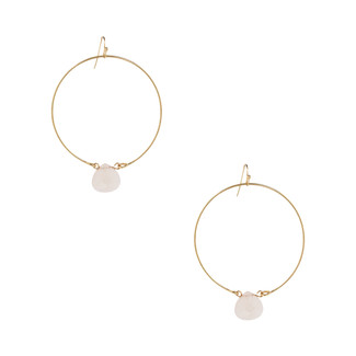 Rose Quartz and Gold Hoop Earrings