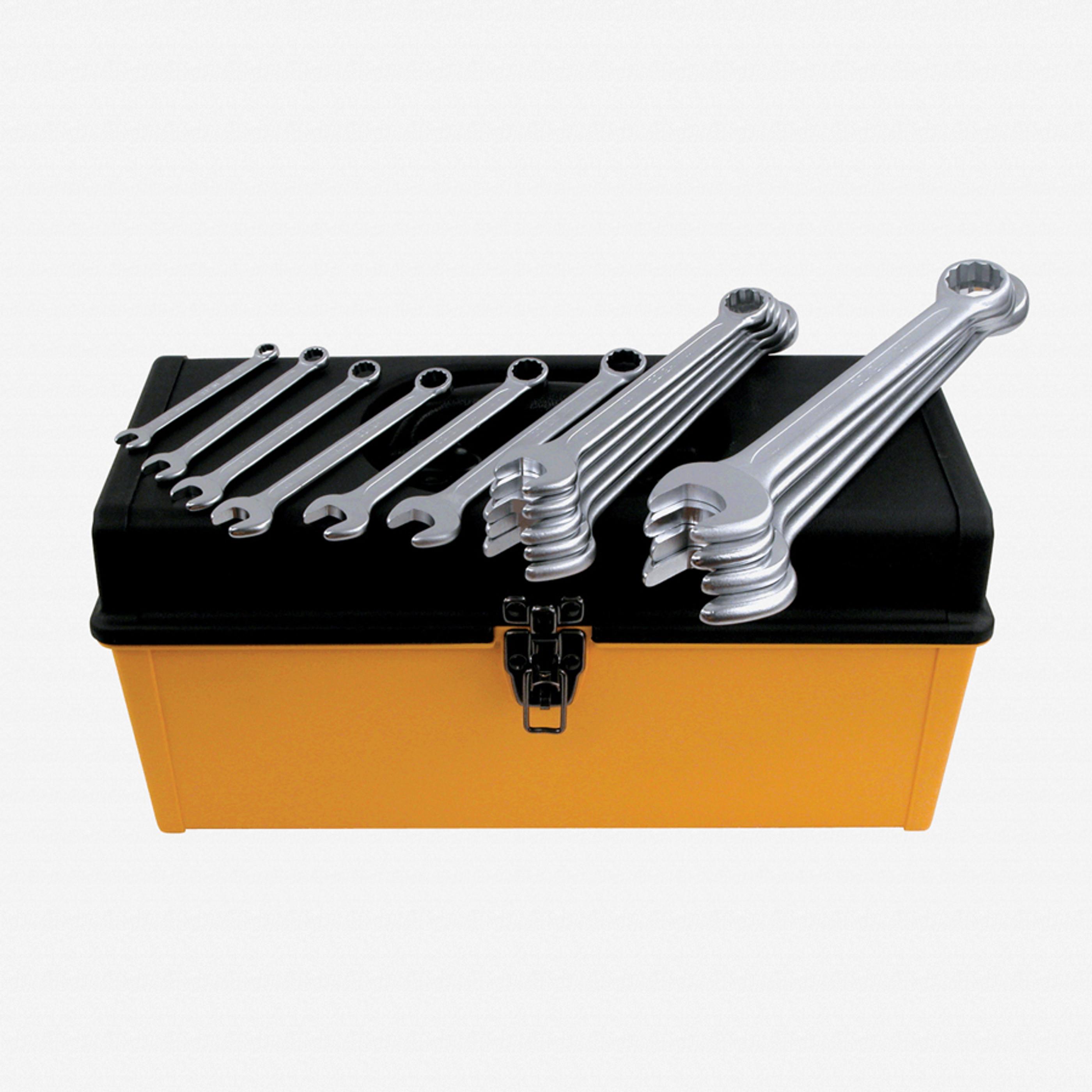 Heyco) 40096 15 Piece Metric Combination Wrench Tool Box Set - KC Tool