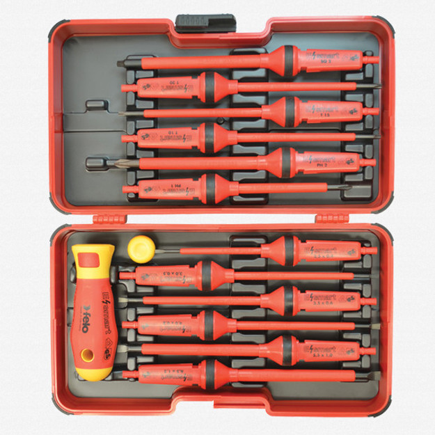 Felo 53447 E-Smart 14 piece Square 2 Set - Slotted, Phillips, Square, Torx Tip Insulated Blades with 2 Handles in Clamshell