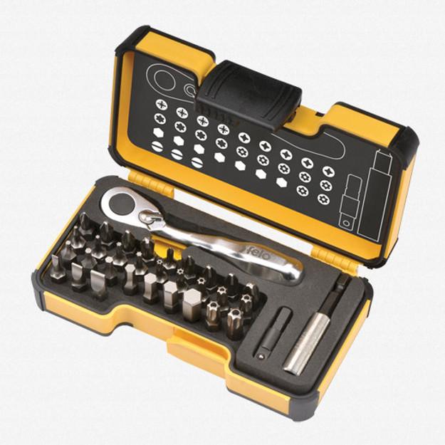 Felo 61545 Felo XS 33 piece Box SL,Hex,PH,PZ,TX Bits Mini Ratchet, Bitholder