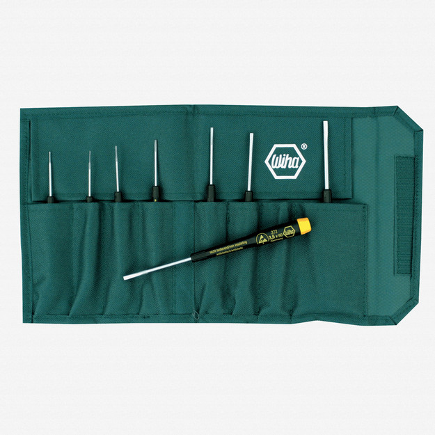 Wiha 27290 8 Piece Precision ESD Safe Slotted Pouch Set - KC Tool