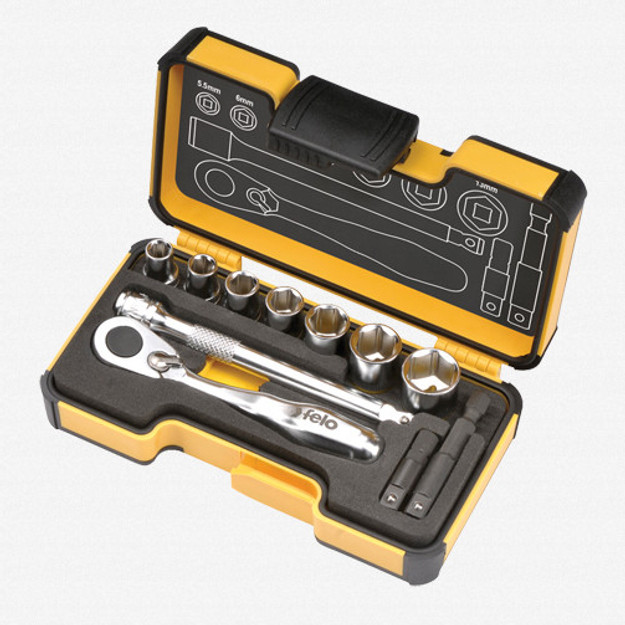 Felo 62057 XS 11pc Box Sockets, Mini Ratchet, Bitholder, INCH