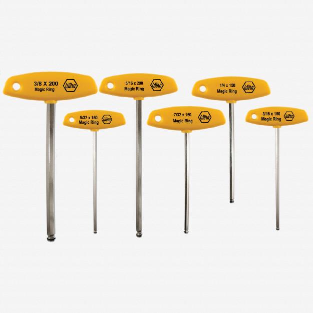 Wiha 54091 6 Piece MagicRing Ball End Hex SAE T-handle Set
