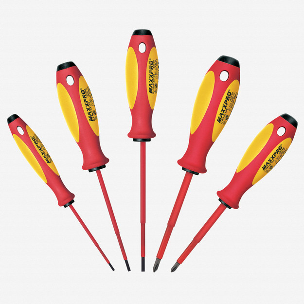 Witte 653741 5 Piece Maxxpro Insulated Slotted and Phillips Screwdriver Set