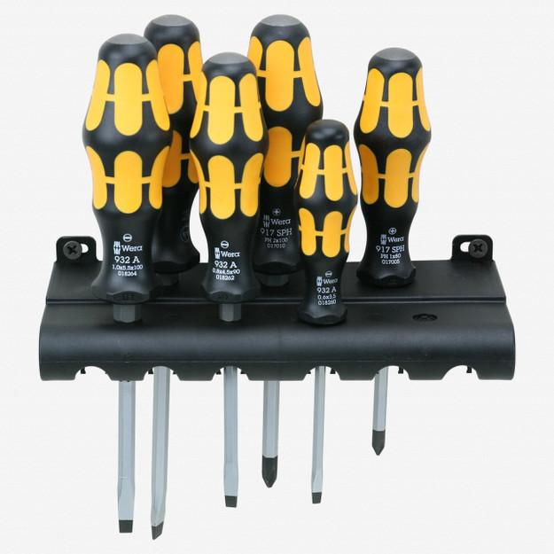 Wera 018282 Kraftform Plus Slotted/Phillips Screwdriver Set + Rack