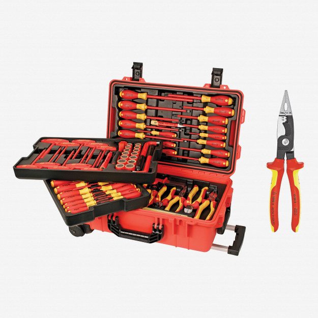BONUS! Wiha 132802 80 Piece Insulated Rolling Tool Case + Free Knipex Pliers - KC Tool