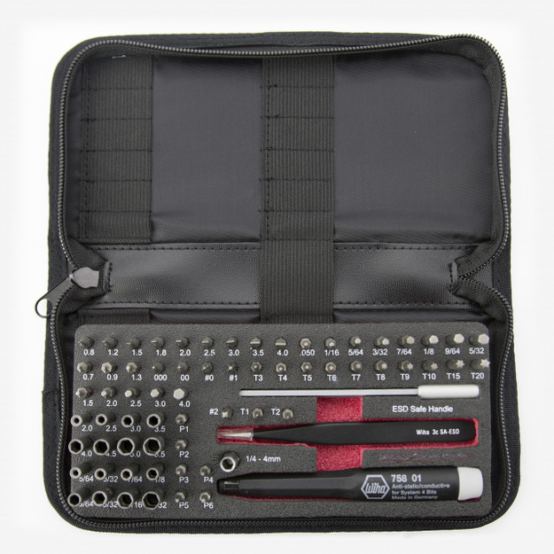 Wiha 75977 ESD Safe Micro Bit Set 68 Pieces with ESD Safe Tweezers