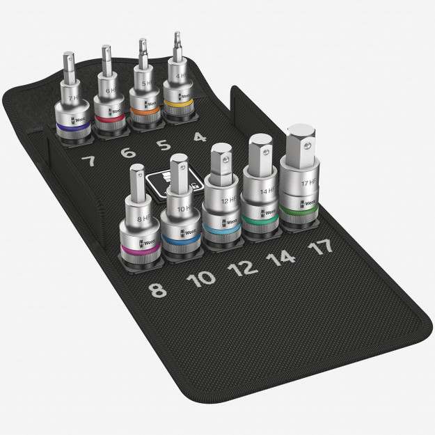 """Wera 004201 Zyklop Hex Metric Bit Socket Set - 1/2"""" Drive with Holding Function - KC Tool"""