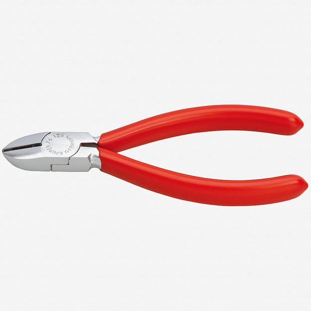 "Knipex 76-03-125 5"" Diagonal Cutters for electromechanics - Chrome w/ Plastic Grip"