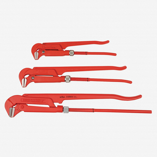 Wiha 32996 3 Piece Pipe Wrench 90 Narrow Style Set