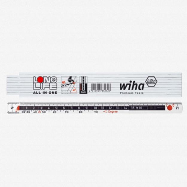 Wiha 61615 MaxiFlex Folding Ruler 2m Outside Reading w/ Depth Gauge