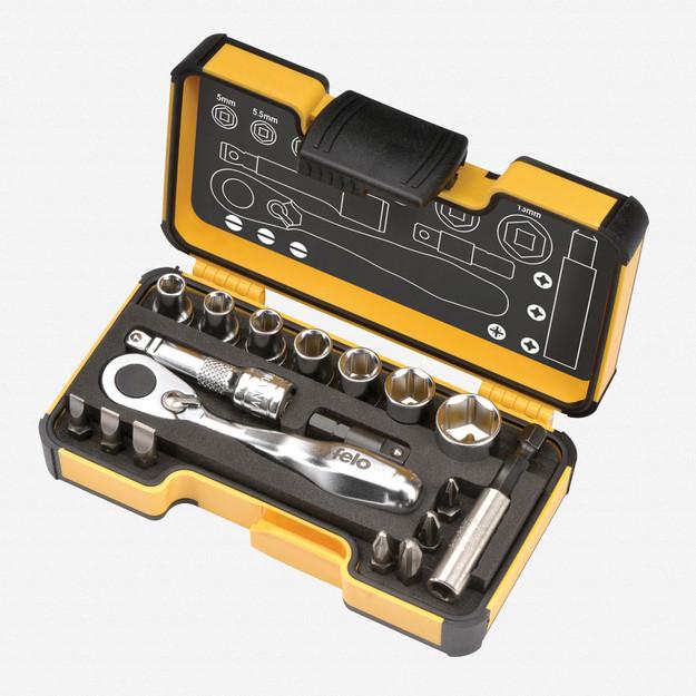 Felo 62059 XS 18pc Box Sockets, Bits, Mini Ratchet, Bitholder, INCH